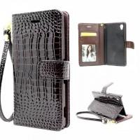 Чехол портмоне подставка с магнитной защелкой текстура Крокодил для Sony Xperia Z5 Коричневый