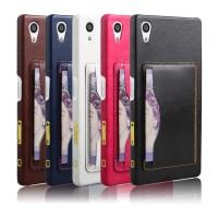 Дизайнерский кожаный чехол накладка с отделениями для карт с подставкой для Sony Xperia Z5