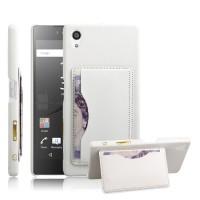 Дизайнерский кожаный чехол накладка с отделениями для карт с подставкой для Sony Xperia Z5 Белый