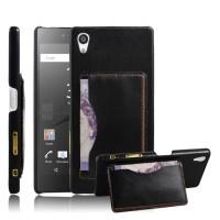 Дизайнерский кожаный чехол накладка с отделениями для карт с подставкой для Sony Xperia Z5 Черный