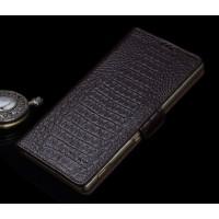 Кожаный чехол портмоне подставка (нат. кожа крокодила) для Sony Xperia Z5