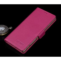 Кожаный чехол портмоне (нат. кожа) с крепежной застежкой для Sony Xperia Z5 Пурпурный
