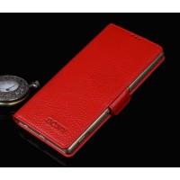 Кожаный чехол портмоне (нат. кожа) с крепежной застежкой для Sony Xperia Z5 Красный