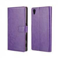 Глянцевый чехол портмоне подставка на пластиковой основе с защелкой для Sony Xperia Z5 Фиолетовый