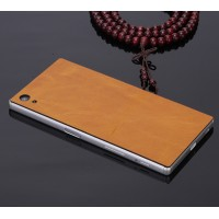 Клеевая кожаная накладка для Sony Xperia Z5 Бежевый