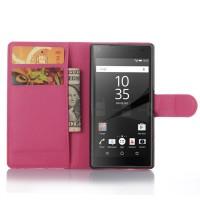 Чехол портмоне подставка с защелкой для Sony Xperia Z5 Compact Пурпурный