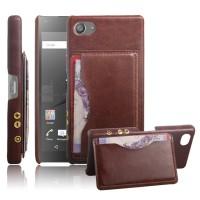 Дизайнерский кожаный чехол накладка с отделениями для карт для Sony Xperia Z5 Compact Коричневый