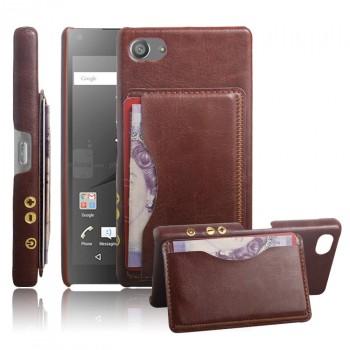 Дизайнерский кожаный чехол накладка с отделениями для карт для Sony Xperia Z5 Compact
