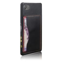 Дизайнерский кожаный чехол накладка с отделениями для карт для Sony Xperia Z5 Compact Черный
