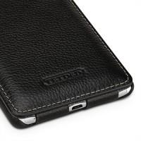 Кожаный чехол вертикальная книжка (нат. кожа) для Sony Xperia C5 Ultra Dual Черный