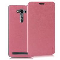 Текстурный чехол флип подставка на пластиковой основе с присоской для ASUS Zenfone 2 Laser 5.5 ZE550KL Розовый