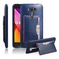 Дизайнерский чехол накладка с подставкой и отделениями для карты для ASUS Zenfone 2 Laser 5 ZE500KL Синий