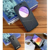 Чехол флип подставка на силиконовой основе с круглым окном вызова текстура Линии для ASUS Zenfone 2 Laser 5.5 ZE550KL Черный