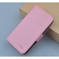 Чехол портмоне подставка на пластиковой основе с защелкой для Lenovo A328 Розовый