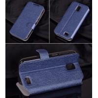 Текстурный чехол флип подставка с магнитной застежкой и отделением для карт для Lenovo A328 Синий