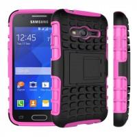 Антиударный силиконовый чехол экстрим защита с подставкой для Samsung Galaxy Ace 4 Розовый