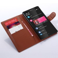 Чехол портмоне подставка с защелкой для Nokia XL Коричневый
