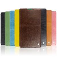 Кожаный чехол горизонтальная книжка (нат. вощеная кожа) подставка на пластиковой основе для Nokia XL