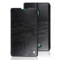 Кожаный чехол горизонтальная книжка (нат. вощеная кожа) подставка на пластиковой основе для Nokia XL Черный