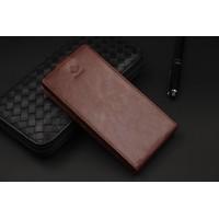 Кожаный чехол вертикальная книжка на пластиковой основе с магнитной застежкой и отделением для карты для ASUS Zenfone 4 Коричневый