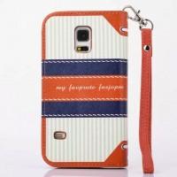 Текстурный чехол портмоне подставка на силиконовой основе с магнитной защелкой для Samsung Galaxy S5 Mini Оранжевый