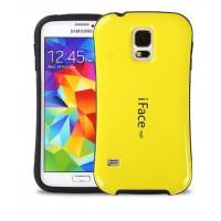 Силиконовый эргономичный чехол с нескользящими гранями для Samsung Galaxy S5 Mini Желтый