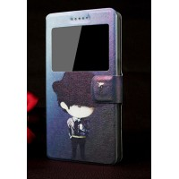 Чехол флип с окном вызова, магнитной застежкой и полноповерхностным принтом для Lenovo A319