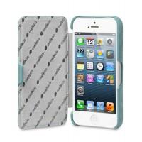 Кожаный винтажный чехол горизонтальная книжка с крепежной застежкой для Apple Iphone 5s/SE Голубой