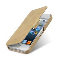 Кожаный винтажный чехол горизонтальная книжка с крепежной застежкой для Apple Iphone 5/5s/SE Бежевый