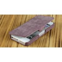 Кожаный винтажный чехол горизонтальная книжка с крепежной застежкой для Apple Iphone 5/5s/SE Фиолетовый