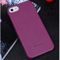Кожаный чехол накладка Back Cover для Apple Iphone 5/5s/SE Фиолетовый