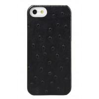 Кожаный чехол накладка (кожа страуса) для Apple Iphone 5/5s/SE