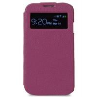 Кожаный чехол горизонтальная книжка с окном вызова для Samsung Galaxy S4 Фиолетовый