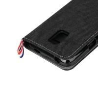 Чехол портмоне подставка на силиконовой основе с тканевым покрытием для Samsung Galaxy S5 Mini Черный