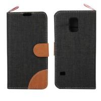 Чехол портмоне подставка на силиконовой основе с тканевым покрытием для Samsung Galaxy S5 Mini