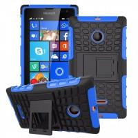 Антиударный силиконовый чехол экстрим защита с подставкой для Microsoft Lumia 435 Синий
