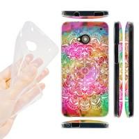 Силиконовый матовый дизайнерский чехол с эксклюзивной серией принтов для HTC One (М7) Dual SIM