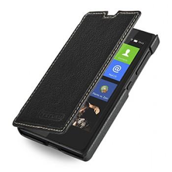 Кожаный чехол горизонтальная книжка (нат. кожа) для Nokia X