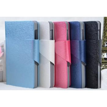 Текстурный чехол флип подставка на пластиковой основе с отделением для карт для Nokia X