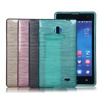 Силиконовый матовый полупрозрачный чехол текстура Металл для Nokia X