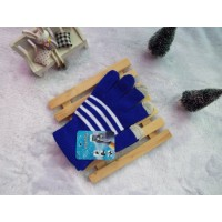 Хлопковые-акриловые сенсорные (трехпальцевые) перчатки дизайн Полосы Синие для
