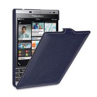 Кожаный чехол вертикальная книжка (нат. кожа) для BlackBerry Passport Silver Edition Синий