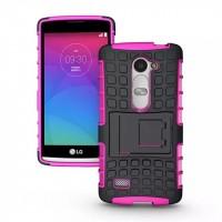 Антиударный силиконовый чехол экстрим защита с подставкой для LG Leon Пурпурный