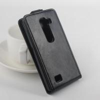 Чехол вертикальная книжка на пластиковой основе с магнитной застежкой для LG Leon Черный
