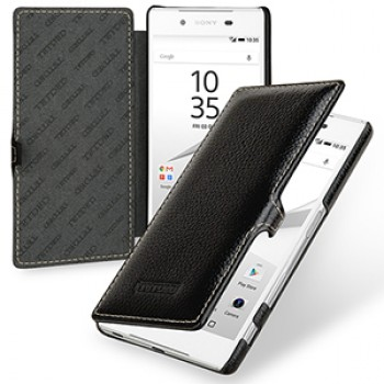 Кожаный чехол горизонтальная книжка (нат. кожа) с крепежной застежкой для Sony Xperia Z5