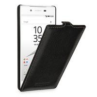 Кожаный чехол вертикальная книжка (нат. кожа) для Sony Xperia Z5 Черный