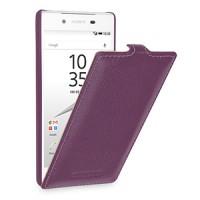 Кожаный чехол вертикальная книжка (нат. кожа) для Sony Xperia Z5 Фиолетовый