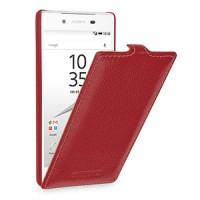 Кожаный чехол вертикальная книжка (нат. кожа) для Sony Xperia Z5 Красный