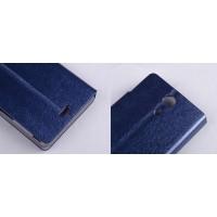 Текстурный чехол флип подставка на пластиковой основе для Sony Xperia ZR Синий
