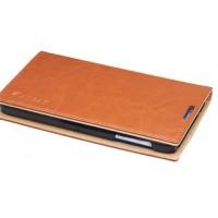 Чехол флип вощеная кожа для Lenovo S890 Коричневый